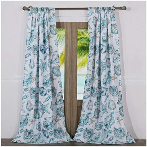 Finely Stitched Seaside Seashell Coastal Beach Inspired Window Treatments Tab Top Lined Curtains Panels 100% Polyester Aqua Blue Green, 84 Inch Length Long Pair Set of 2 - Includes Bed Sheet Straps Beach Inspired Sea Shell