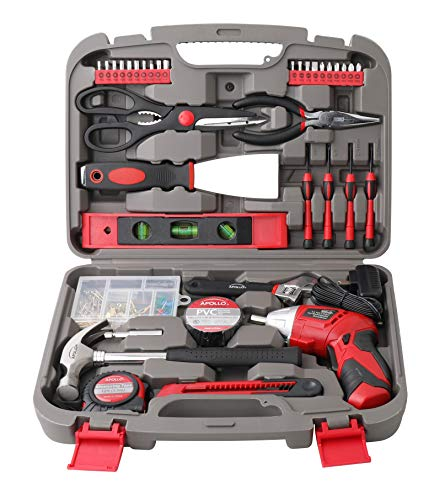 APOLLO TOOLS 135 Piece Household Tool Set with Powerful Dual-Angle 3.6 Volt Lithium-Ion Cordless Screwdriver - DT0773