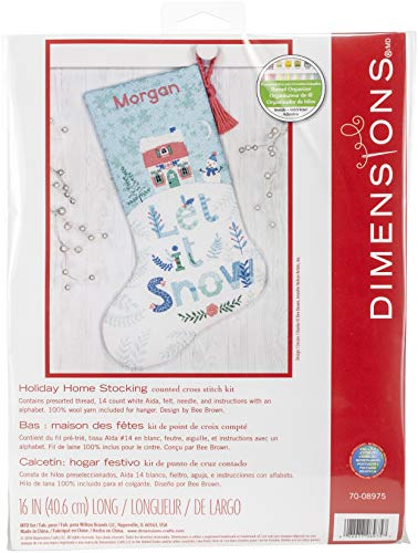 (Dimensions Counted Cross Stitch 'Let It Snow' Personalized Christmas Stocking Kit, 14 Count White Aida Cloth, 16'')
