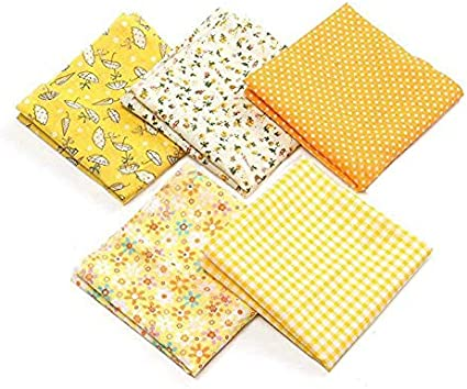50cm x 50cm Cotton Craft Fabric Bundle Patchwork Pre-Cut Quilt Squares for DIY Sewing Scrapbooking Quilting Flowers Dot Pattern Yellow Quilting Fabric Gece 5pcs 20 x 20