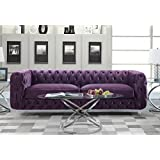 Iconic Home FSA2657-AN Modern Contemporary Tufted Velvet Down Mix Cushons Acrylic Leg Sofa, Purple