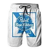 Beach Shorts Pabst Blue Ribbon Beer Logo Beach Swim Shorts for Men Boys, Outdoor Short Pants Beach Accessories, White