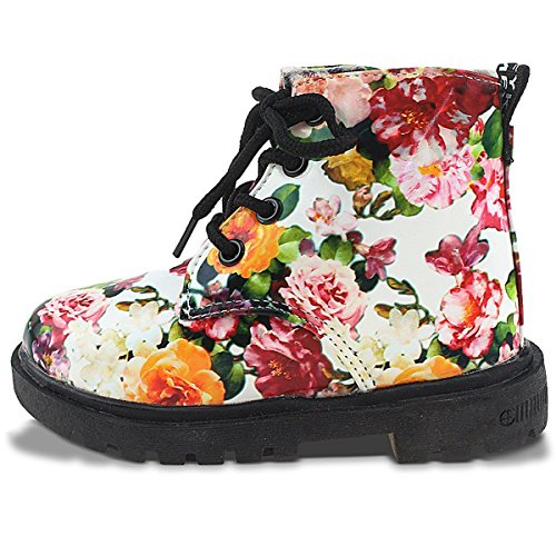 IOO Flower Girls Waterproof Dress Boots with Floral Print Lace Up Fashion Casual Boots for Toddler Girl