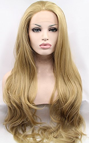 Kryssma Good Looking Natural Wavy Heat Resistant Hair Synthetic Lace Front Wig Golden Blonde #24 for White Women