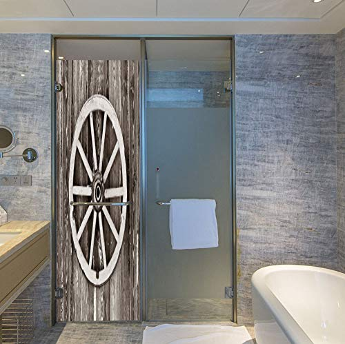 (YOLIYANA Privacy Window Film Decorative,Barn Wood Wagon Wheel,for Glass Non-Adhesive,Retro Wheel on Timber Wall Barn House Village,24''x78'')