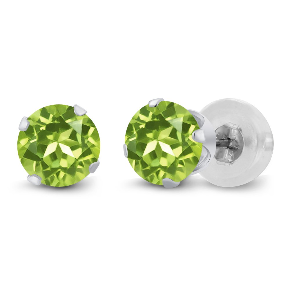 14K White Gold Peridot Stud Earrings Gemstone Birthstone 1.00 Cttw Round 5MM
