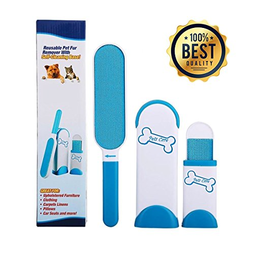 Pet Fur & Lint Remover by PETS CARE Dog Cat Hair and Fur Remover, Double-Sided Brush with Self-Cleaning Base Remove Dog Cat Hair (FREE EBOOK)