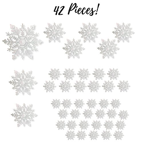 Christmas Decorations In White - White Glittered Snowflakes - Pack of 42 Plastic Snowflakes Covered in White Glitter - Assorted Sized of Small, Medium and Large Hanging Snow Flakes - Christmas Snowflakes