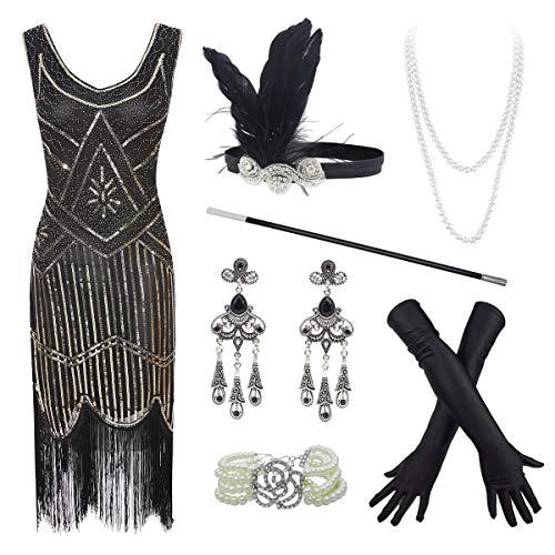 20s Flapper Gatsby Sequin Beaded Evening Cocktail Dress with Accessories Set (Large, -
