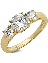 14 CT Round Cut Solitaire Three Stone Anniversary Promise Ring 14K Yellow Gold Engagement Wedding Band
