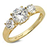 Clara Pucci 1.4 CT Round Cut Solitaire Three Stone Ring 14K Yellow Gold Engagement Wedding Band