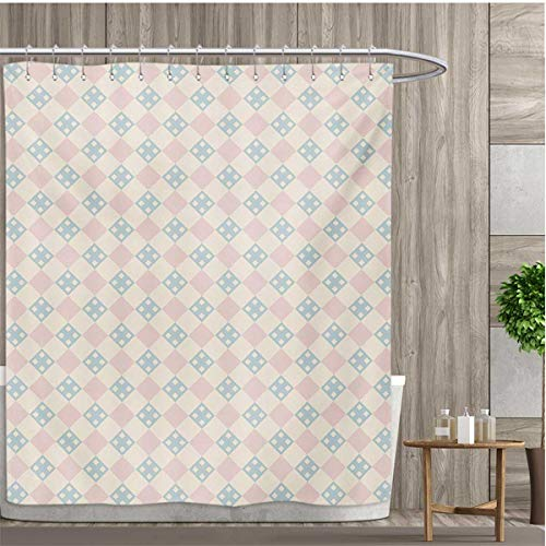 smallfly Shabby Chic Shower Curtains Fabric Checked Pattern with Square Motifs Pastel Colors Vintage Tile Bathroom Decor Set with Hooks 36