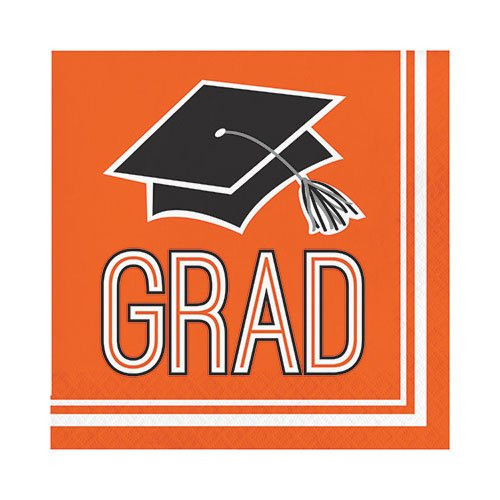 Creative Converting 320066 Graduation School Spirit Orange Napkins, 6.5'',