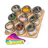 Nellam Spice Rack Magnetic with Bamboo Wood Stand and Wall Mount, 9 Storage ...