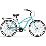 """sixthreezero Around The Block Women's 3-Speed Beach Cruiser Bicycle, 26"""" Wheels, Teal Blue with Black Seat and Grips"""