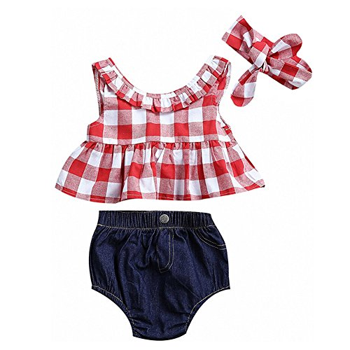 MILWAY Baby Girls Plaid Ruffle Bowknot Tank Top Denim Shorts With Headband Outfits Set (Red, (Red Outfit)
