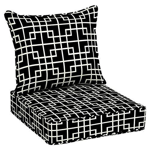 Black Geometric Outdoor Deep Seating Cushion Set Seat Back Cushion for Deep Seat Patio Furniture (Collection Cushion Seat Garden)
