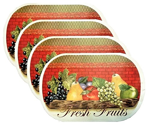 4 Pack Deluxe Vinyl Placemat Set Latest Decoration Patterns Non-slip Foam Ease Wipes Clean (Fresh Fruit)