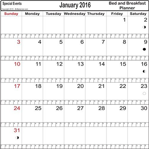 Bed And Breakfast Inn  Motel Reservation 18 Month 5 Room Calendar Planner  From Current Month Year  Sent To You By Pdf Email