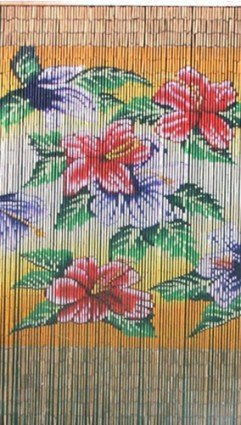 Bamboo 54 5271 Tropical Flowers Curtain (Curtains Beaded Tropical)