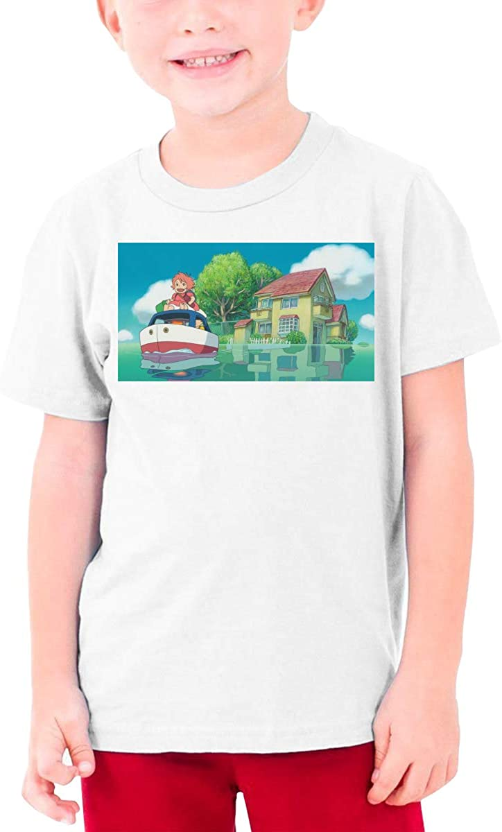 LOUHART Custom Ponyo On The Cliff Adventure Funny T Shirt O-Neck for Youngster Black