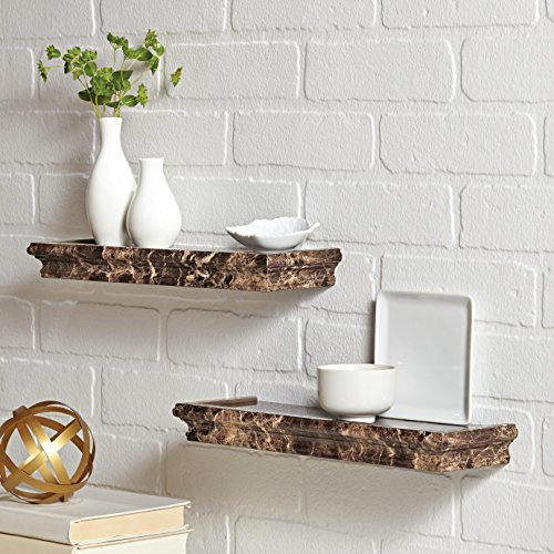 Better Homes and Gardens Floating Shelves Set - Two 14-inch Picture Ledges - Small and Lightweight - Spruce Up Any Room with Elegant Wall Decor - Easy to Install - Brown Marble Finish (Ledge Shelving)