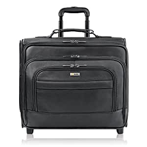Solo Classic Collection Leather Rolling Laptop Overnighter, Airport Security-Friendly, Holds Notebook Computer up to 15.6 Inches, Black, D964-4