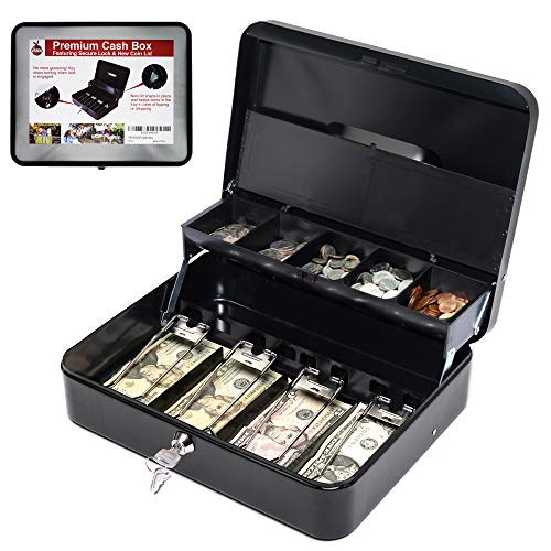 Cash Box with Money Tray | Key Lock | Tiered Coin Tray with Lid | Steel Cash/Money Storage Safe | For Petty Cash Security | 12 x 10 x 3.5 Inches | Black