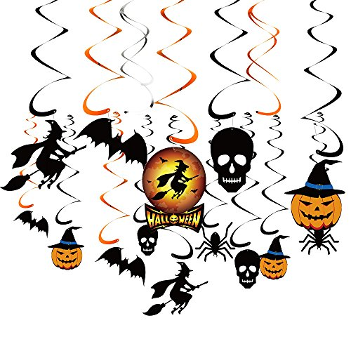 KUUQA 34 Pieces Halloween Party Hanging Swirl Decoration Scary Theme Ceiling Decorations Witches Bats Spider Skull Swirl Hanging Cards -