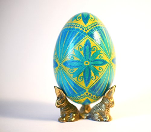 Ukranina Christmas gift Goose egg Pysanka real goose egg shell in blue and yellow colors of Ukrainian flag