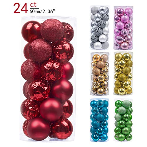 Valery Madelyn 24ct 60mm Essential Red Basic Ball Shatterproof Christmas Ball Ornaments Decoration,Themed with Tree Skirt(Not Included) (Christmas Ornaments Red Shatterproof)