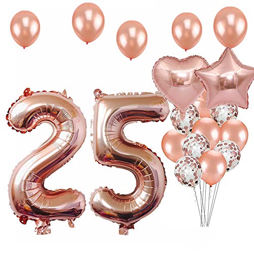 - 25th Birthday Decorations Party Supplies, Jumbo Rose Gold Foil Balloons for Birthday Party Supplies,Anniversary Events Decorations and Graduation Decorations Sweet 25 Party,25th Anniversary