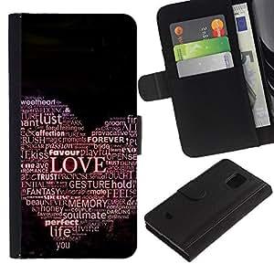 Samsung Galaxy S5 Mini / SM-G800 (Not For S5!!!) , la tarjeta de Crédito Slots PU Funda de cuero Monedero caso cubierta de piel (Love Hear Typography)
