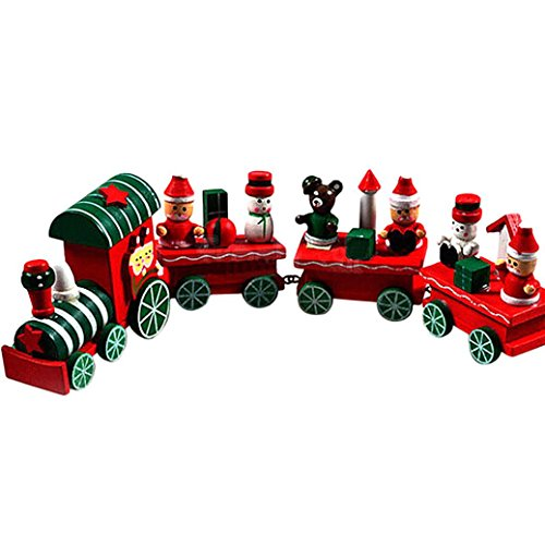 Christmas Decorations Train,OUBAO 4 Pieces Wood Christmas Xmas Train Decoration Decor Christmas Gift (A)