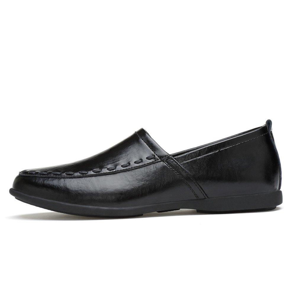 Mocasines de Cuero Genuino de los Hombres Slip on Suede Plantilla Loafer 39 EU|Negro