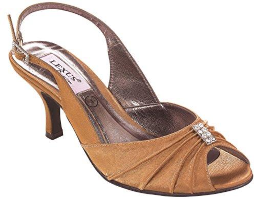 LEXUS - Zapatos destalonados de satén mujer marrón - Bronze