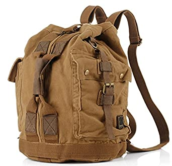 Amazon.com | Military Canvas Rucksack Travel Hiking Backpack Bag ...