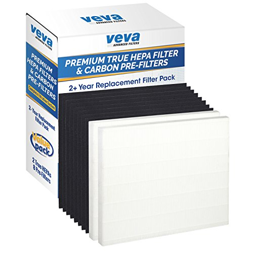 Premium True HEPA Replacement Filter 2 Pack Including 8 Carbon Pre Filters compatible with AP-1512HH Coway Air Purifier (2+ Year Value Pack) by VEVA Advanced Filters