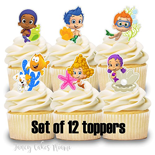 12 Cupcake Toppers BUBBLE -