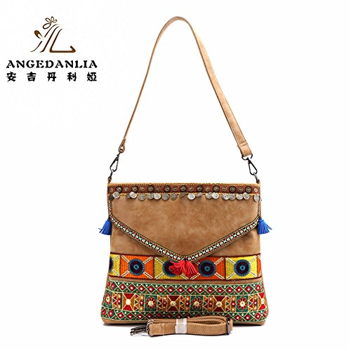 Shoulder Bag – Angedanlia Boho Leather Woman Handmade Shoulder Purse Hippy Gypsy Tassel Sling Bag 4103 (Brown)