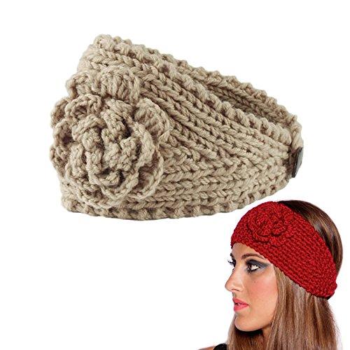 AStorePlus Women Girl's Winter Warm Twist knitting Wool Crochet Snood Headband Women Flower Elastic Head Wrap, Beige (Wool Player)
