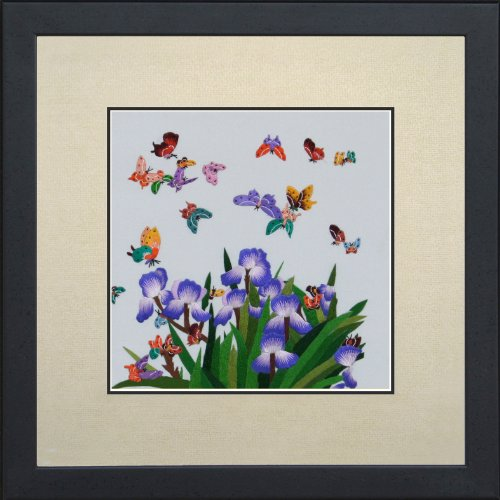 Feng Shui Butterflies in Blue Irises Large Wildlife Butterfly Painting
