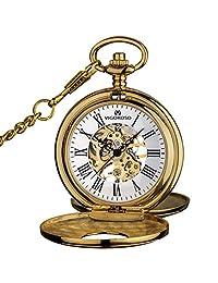 VIGOROSO Mens Pocket Watch Half Hunter Double Cover Skeleton Mechanical Gold Roman Numeral Gift Box Watch