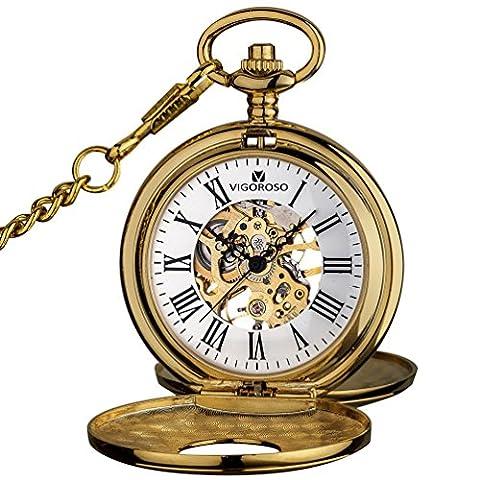 VIGOROSO Mens Pocket Watch Half Hunter Double Cover Skeleton Mechanical Gold Roman Numeral Gift Box (Mechanical Pocket Watch Engraved)
