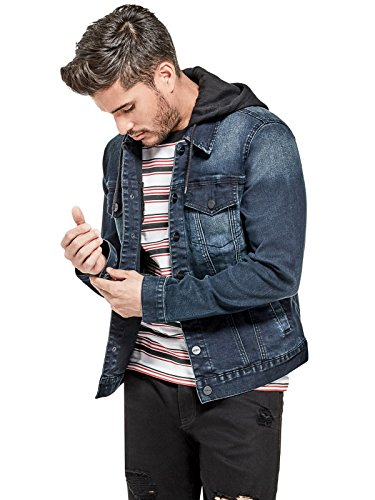 top Guess Factory Men's Vertix Hooded Denim Jacket on sale