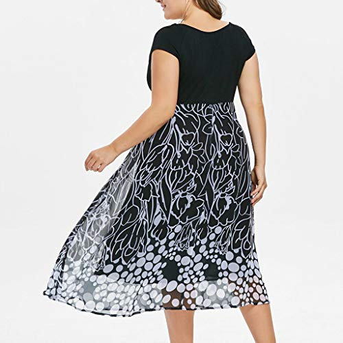 Women's Sleeveless V-Neckline Lace Top Plus Size Cocktail Party Pots Printed Swing Dress (XL, Black) by Twinsmall (Image #1)