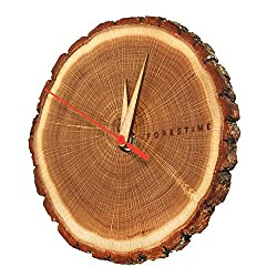 TreeHouse London Handmade 100% Natural 7 Oak Wooden Wall Clock with Bark. Minimalist Battery Operated Analogue Clock for Home or Office Décor Give The Gift of Time with This Refined Present