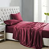 OOSilk 4 Pieces 100% Mulberry Charmeuse Silk Bed Sheet Set Seamless Deep Pocket (Queen, Red)