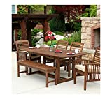 WE Furniture 6-Piece Acacia Wood Dining Set with Cushions