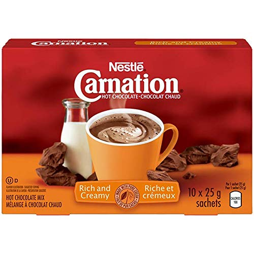 - Nestle Carnation Hot Chocolate Rich and Creamy 10 x 25 g sachets, 250g (8.83oz), Product of Canada